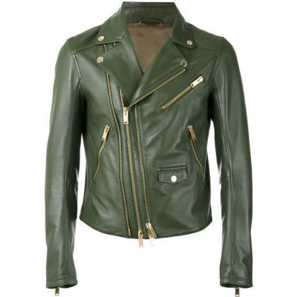Women Green Leather Jacket, Brando ..