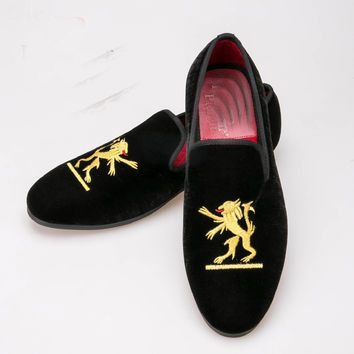 Handmade Men Black Velvet Embroider..