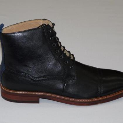 Handmade men Black Ankle high leath..