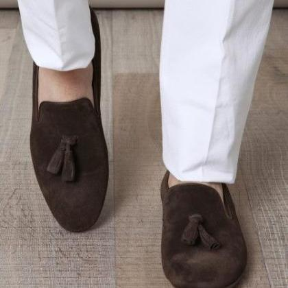 Handmade Men Light Gray Suede casual Tassels Shoes Moccasins Men tassels shoes