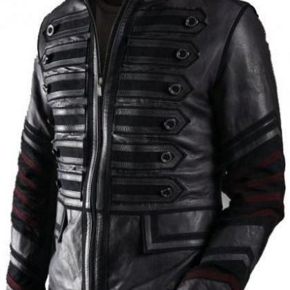 Men Black Military Leather Jacket