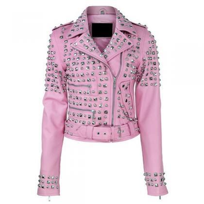 Leather Skin Women Pink Spike Studd..