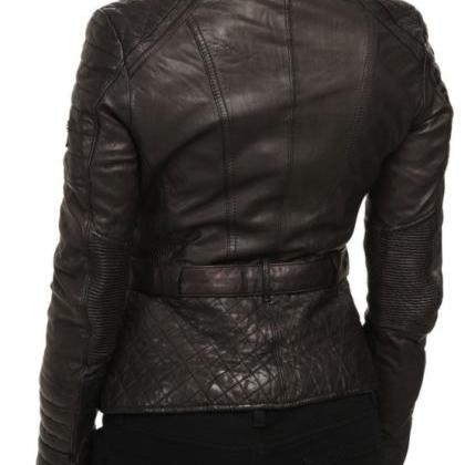 Leather Skin Women Black Belted Qui..