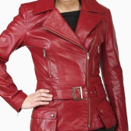 Women Red Brando Belted Leather Jac..