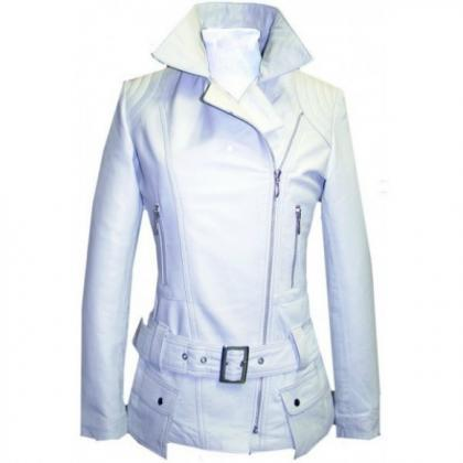Leather Skin Women White Belted Hig..