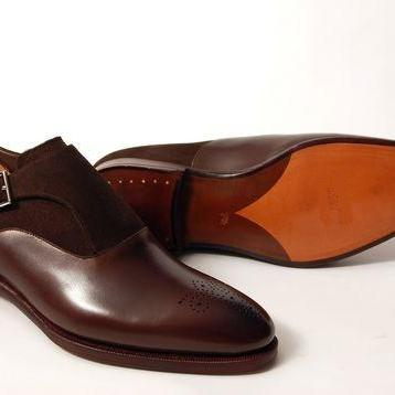 Men Brown Brogue Single Monk Suede ..