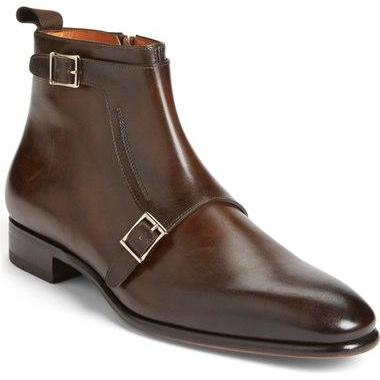 Men Brown Monk Genuine Handmade Lea..