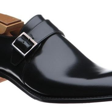 Men Black Monk Strap Genuine Leathe..