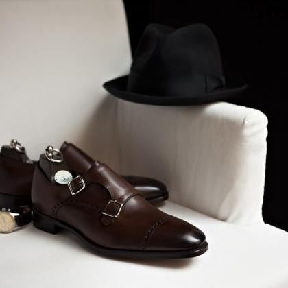 Men Brown Double Monk Brogue Genuin..