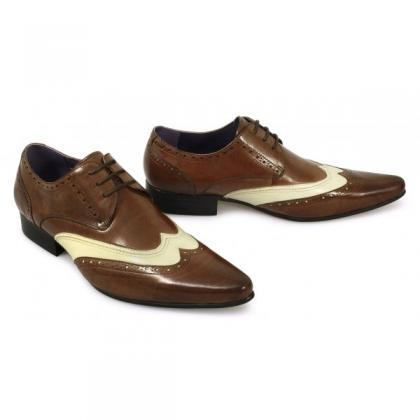 Men Brown White Two Tone Oxford Bro..