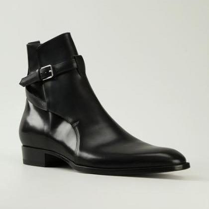 Men Black Single Monk Ankle Genuine..