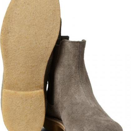 Men Gray Grey Chelsea Suede Leather..