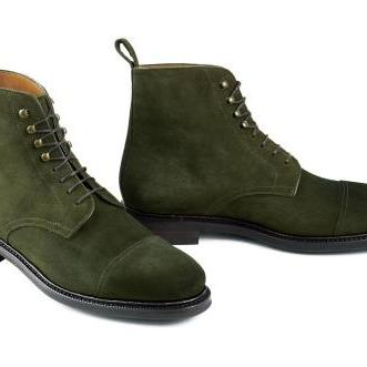 Men Green Hunter Lace Up Military S..