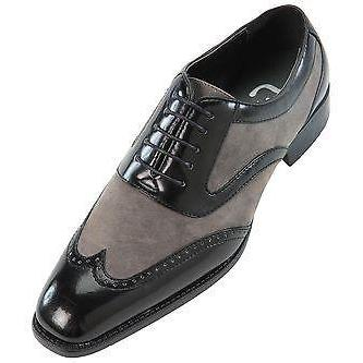 Men Black Gray Grey Oxford Brogue W..