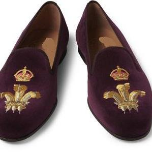 Men Purple Velvet Embroidery Loafer..