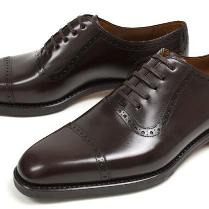 Men Black Oxford Brogue Formal Genu..