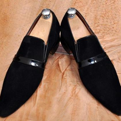 Men Black Moccasin Pointed toe Sued..