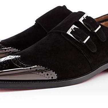 Men Black Oxford Brogue Wingtip Gen..