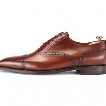 Men Brown Brogue Oxford Genuine Lea..