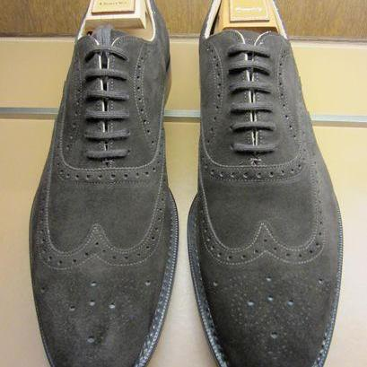 Men Gray Grey Brogue Wingtip Suede ..