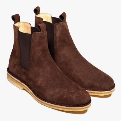 Men Brown Chelsea Suede Leather Boo..