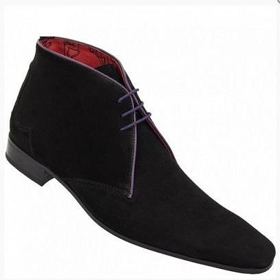 Men Black Suede Leather Shoes with ..