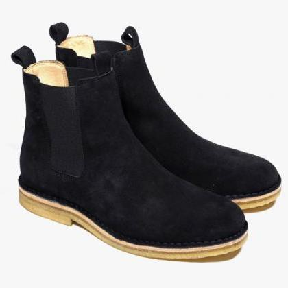 Men Black Chelsea Suede Leather Boo..