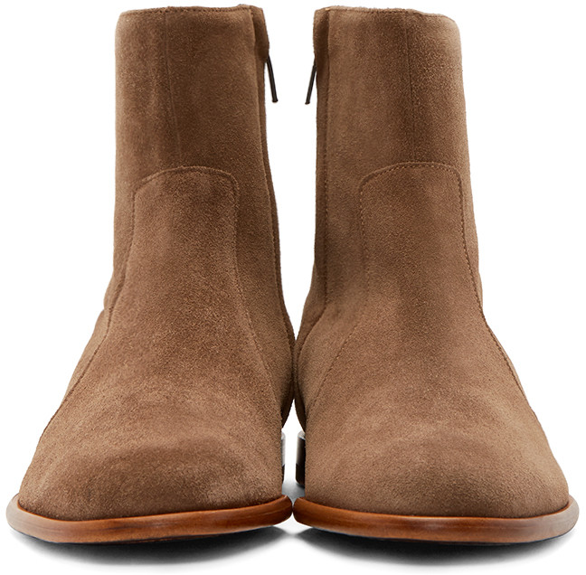 Handmade men's beige color side zipper ankle high boots, Men genuine suede boot