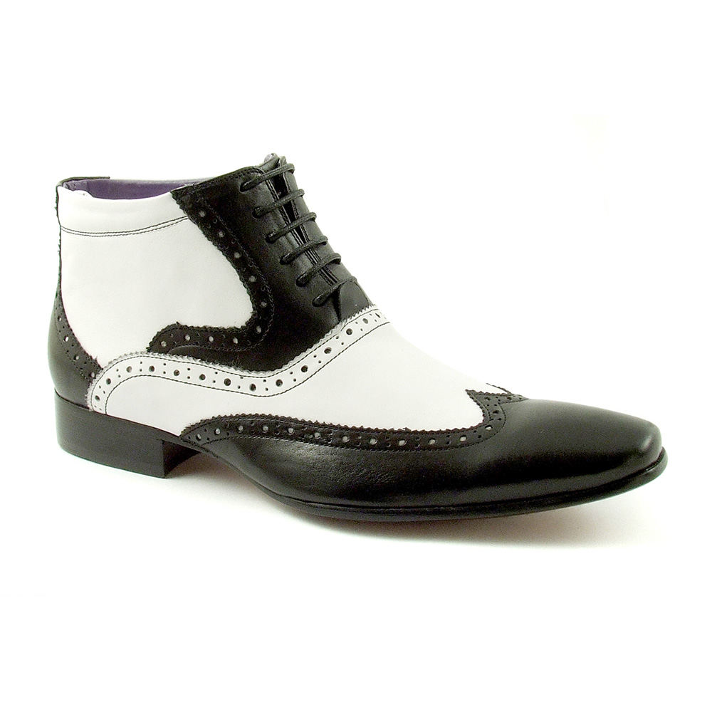062e2a3d75a Handmade Men Black And White Wingtip Ankle Boots, Men's Real Leather Boot