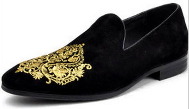 fa6e1a0f36d5b Handmade Men Black Velvet Loafer Embroidered Shoes , Men's Velvet Leather  Sole Shoe