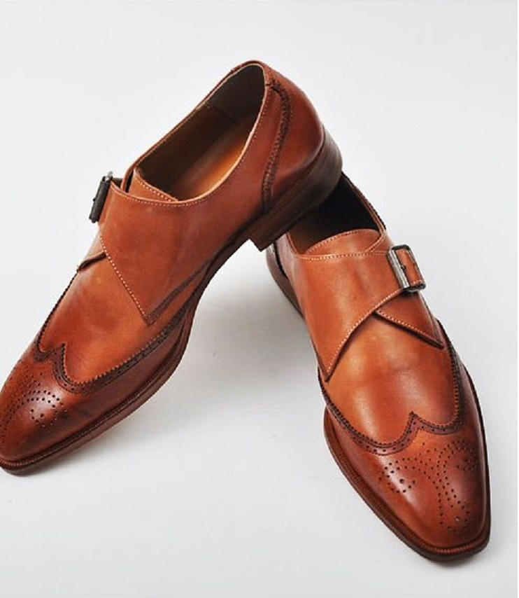 Handmade men Tan color formal dress shoes, Men's leather monk shoe