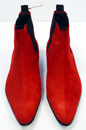 Handmade Men Red Color Pointed Toe Suede Boot Men S Ankle Boots