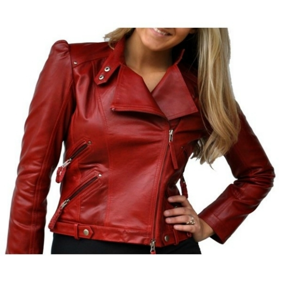 Leather Skin Women Maroon Red Genuine Real Brando Leather Jacket