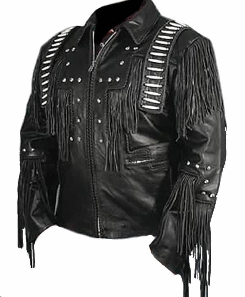 Men Black Handmade Genuine Leather Jacket with Leather Fringes White Stripes
