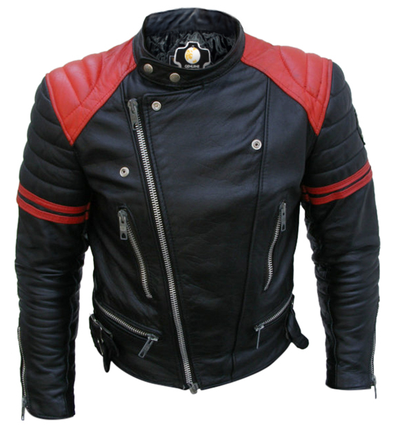 d363968676012 Brando Black Red Padded Power Shoulders Motorcycle Biker Genuine Leather  Jacket