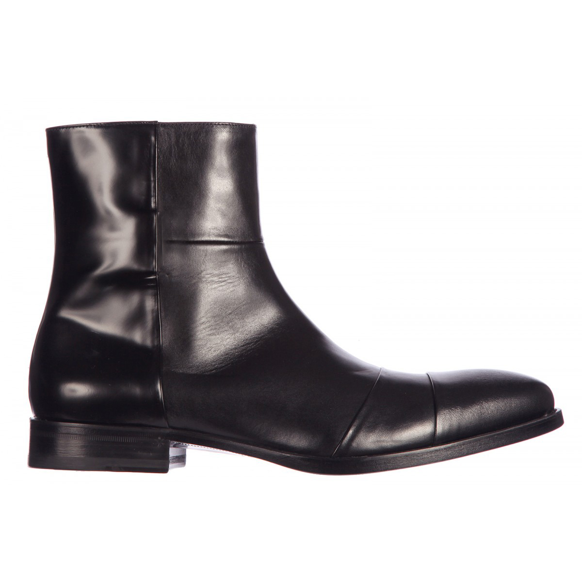 Men Black Zipper Handmade Genuine Leather Boots