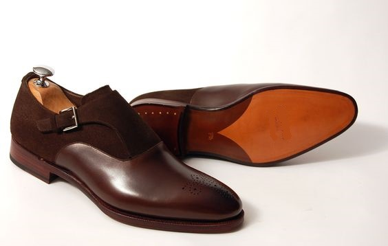 Men Brown Brogue Single Monk Suede and Genuine Leather Shoes
