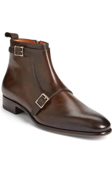 Men Brown Monk Genuine Handmade Leather Shoes
