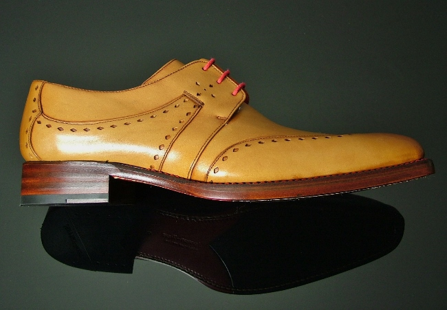 Men Tan Brogue Wingtip Formal Genuine Leather Shoes