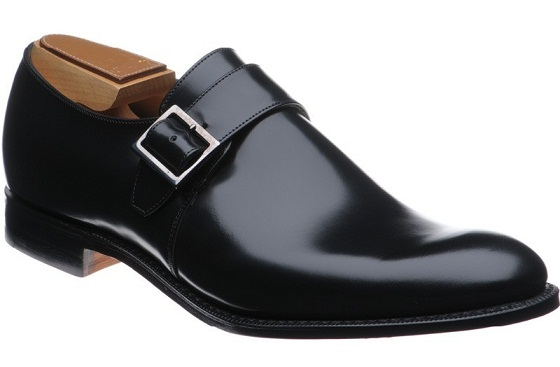 Men Black Monk Strap Genuine Leather Shoes