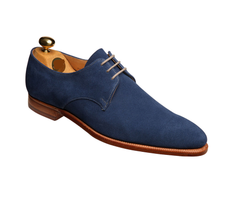 Men Blue Suede Leather Shoes with Laces & Brown Outsole