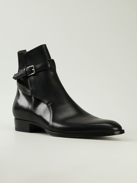 Men Black Single Monk Ankle Genuine Leather Boots