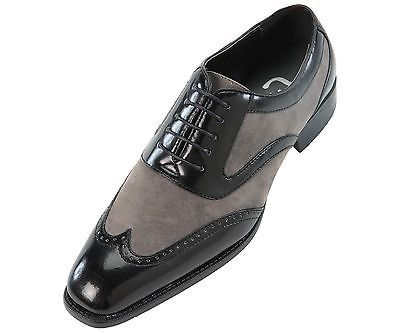 Men Black Gray Grey Oxford Brogue Wingtip Suede & Genuine Leather Shoes