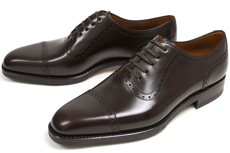 Men Black Oxford Brogue Formal Genuine Leather Shoes