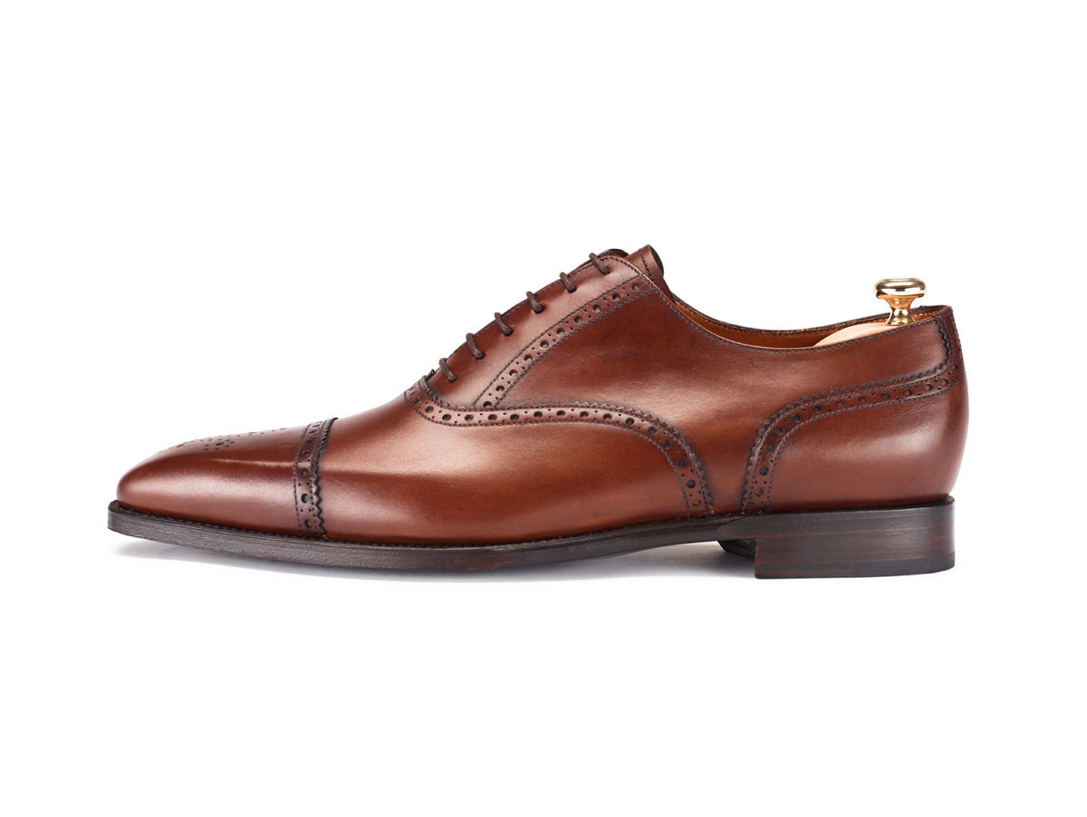 Men Brown Brogue Oxford Genuine Leather Shoes