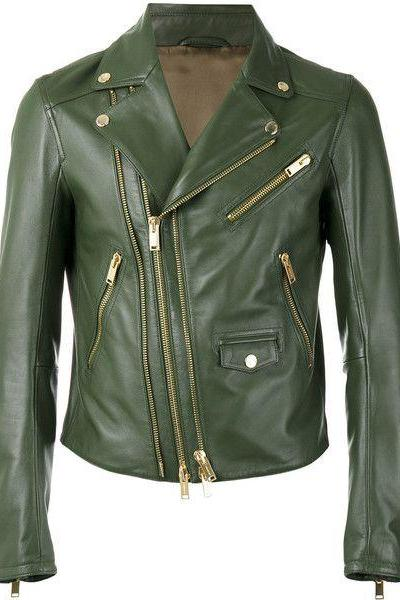 Women Green Leather Jacket, Brando Style, Plain Lining, Gold Zippers, Dark Green Color