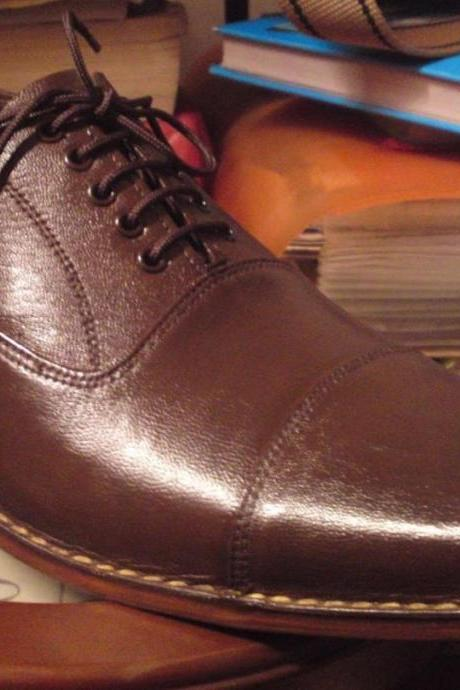 Handmade Men brown color dress shoes, Men's real leathers shoe