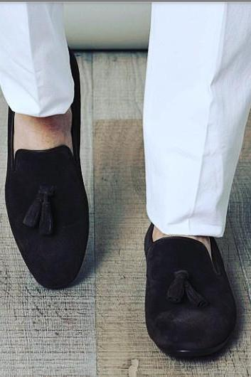 Handmade Men black Color suede tassel shoes, Men's moccasins real leather shoe