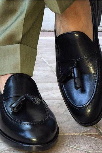 Handmade men black tassel mocassins shoes , Mens formal genuine leather shoe