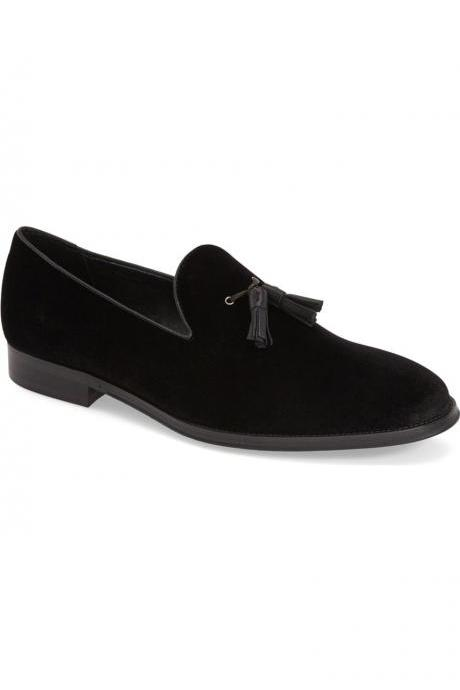 Handmade men black suede tassels loafer shoes, Men's black casual suede shoe